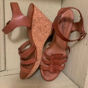 Lucky Brand leather cork wedge sling back shoes.